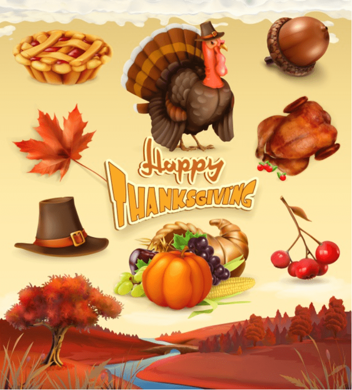 Autumn. Happy Thanksgiving cartoon character and objects. Premium Vector.