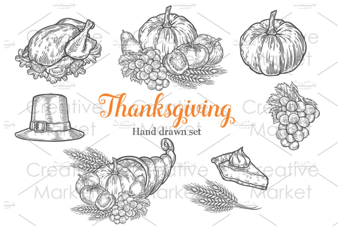 Thanksgiving hand drawn set by Engravector shop.