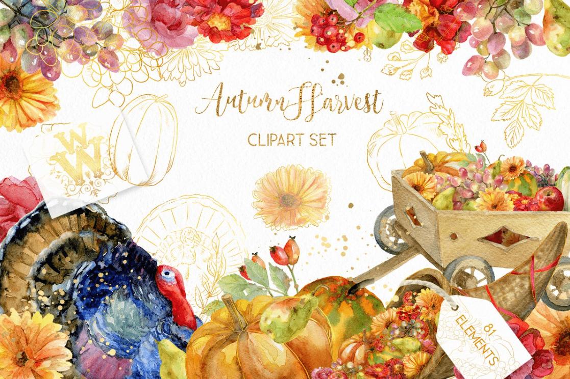 Thanksgiving autumn clipart by WonderWonder.