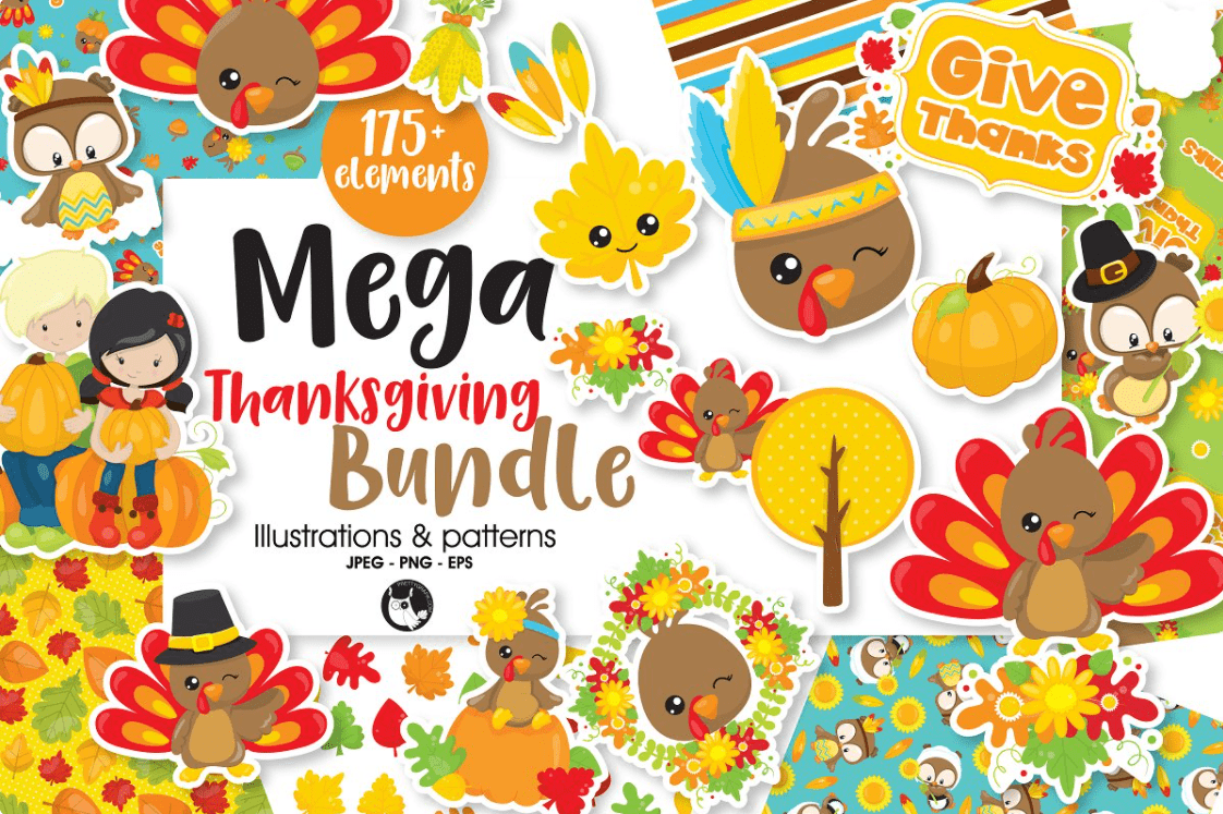 Mega Thanksgiving Bundle, 175+ by Prettygrafik Design.