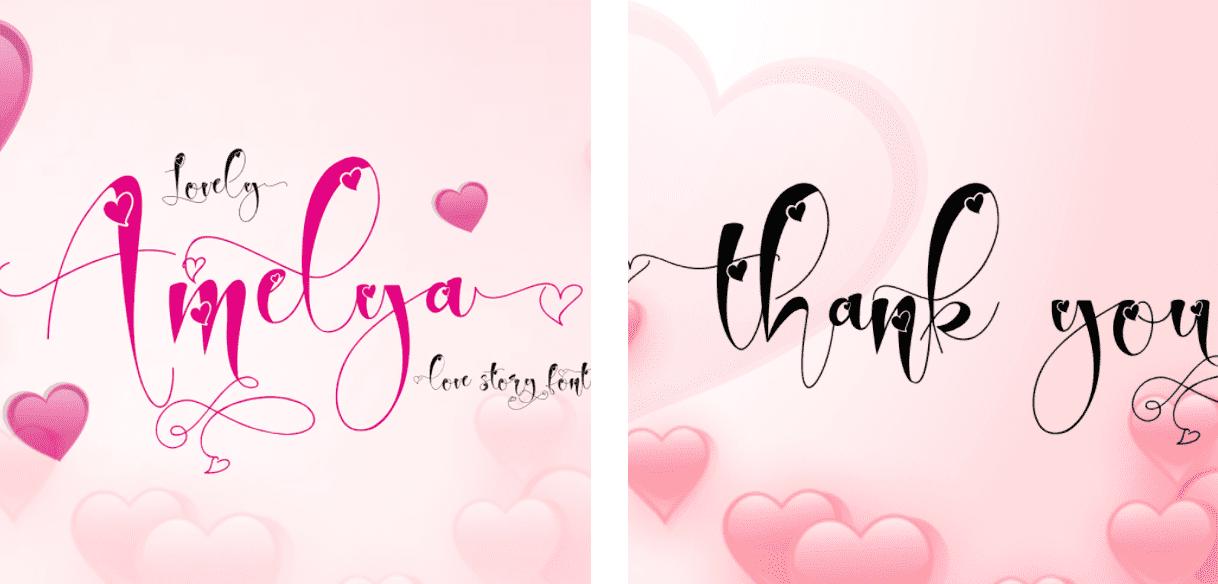 Lovely Amelya Skinny Handwritten Font.