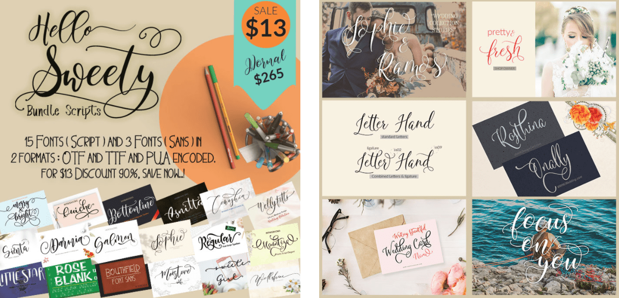 Funky Font Bundle: 18 Amazing Modern Calligraphy Fonts.