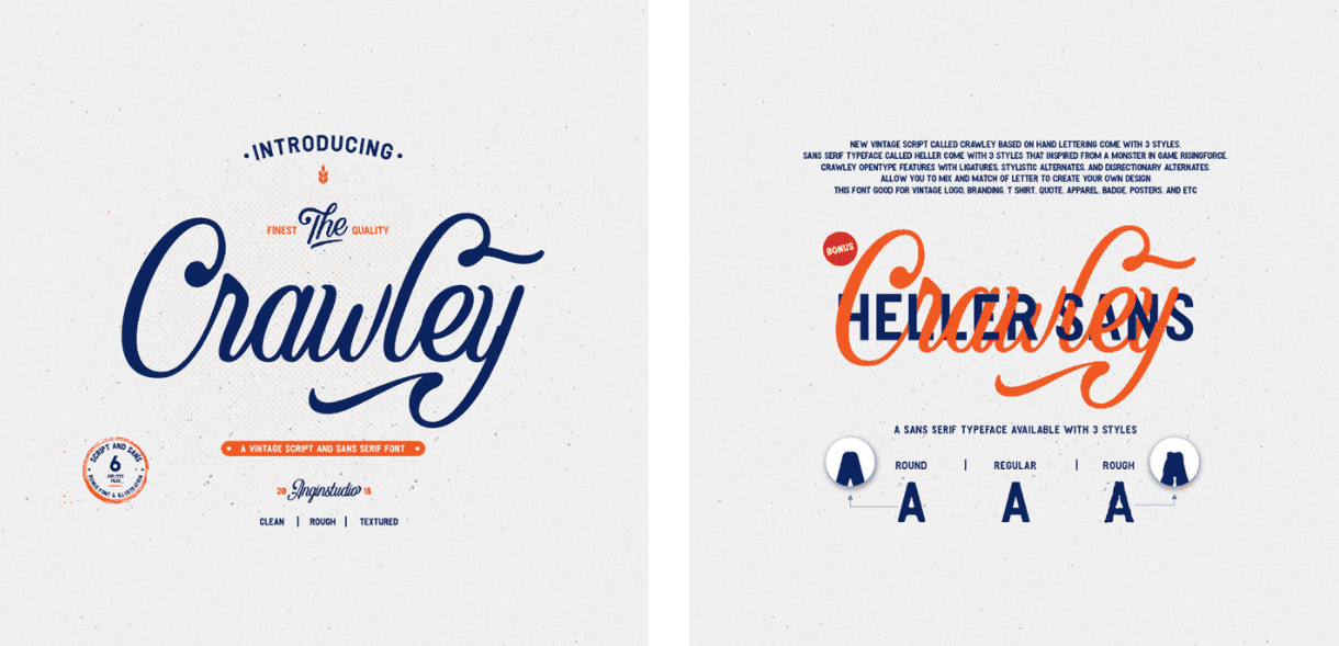 Crawley Textured Font Duo + Illustration.