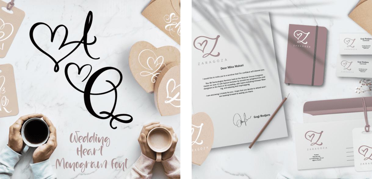 Hello Wedding Font: Wedding Heart Monogram Font.