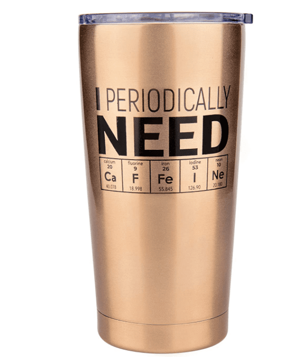 Stylish cup with a part of the periodic table that creates the inscription