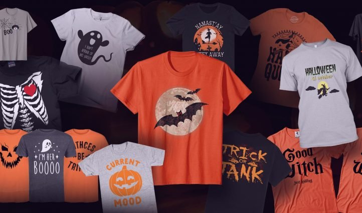A selection of gray and orange scary t-shirts for Halloween.