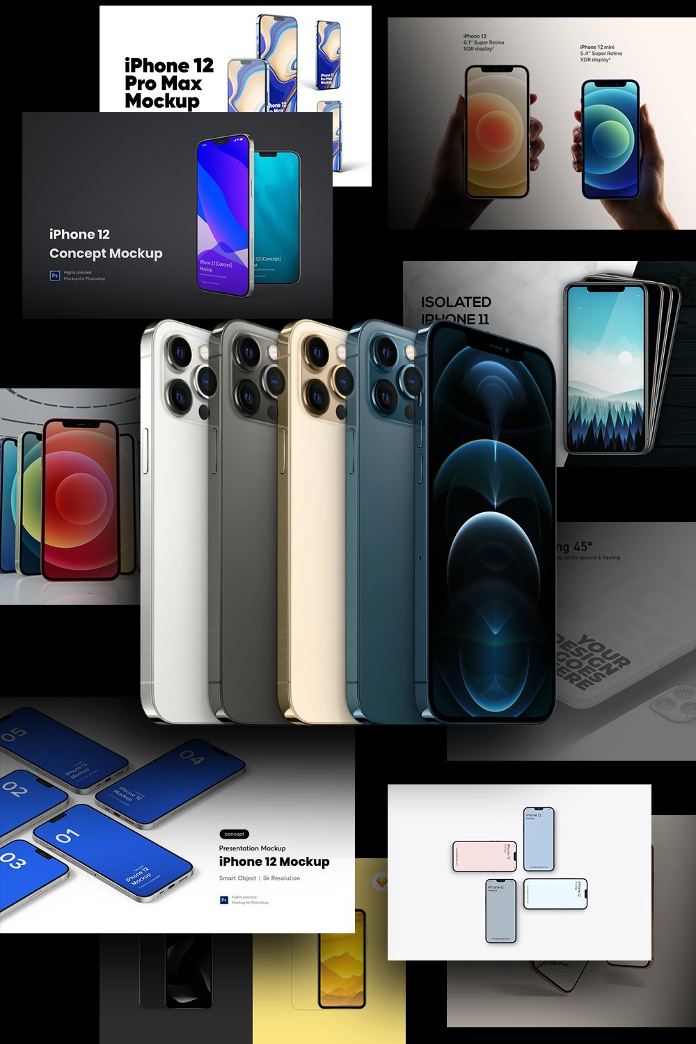 Best iPhone 12 Mockups Collection. Pinterest Image.