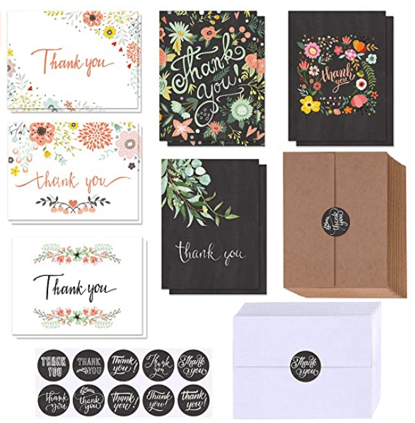 150 Sets Bulk Blank Thank You Cards with Envelopes Stickers Assortment 6 Design of Floral Watercolor Calligraphy Thank You Greeting Cards Note Cards for Wedding Bridal Baby Shower Thanksgiving Party.