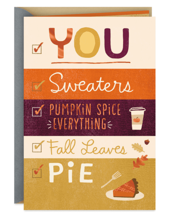 Grateful for You, Sweaters and Pumpkin Spice Thanksgiving Card.