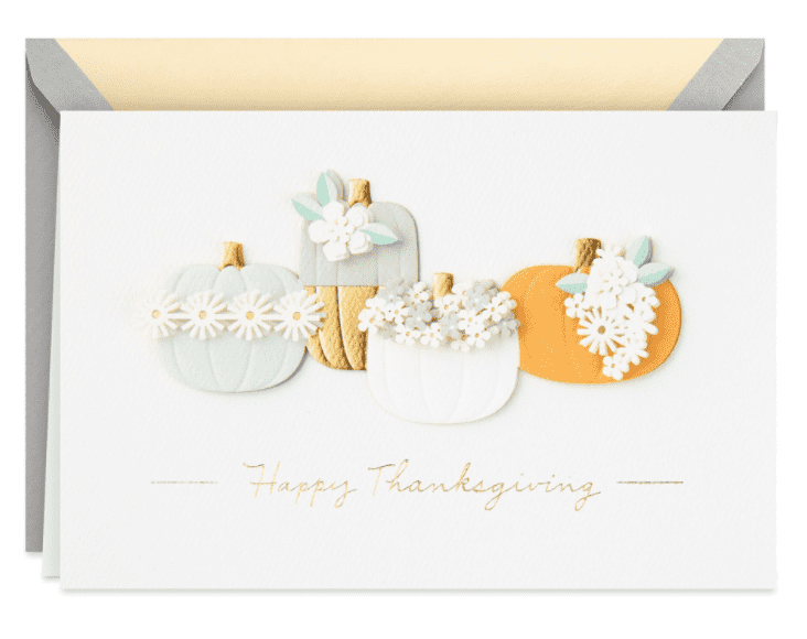 Floral Pumpkins Thanksgiving Card.