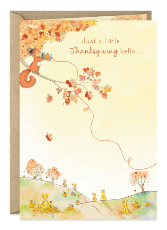 Cute Squirrel Long-Distance Hello Thanksgiving Card.