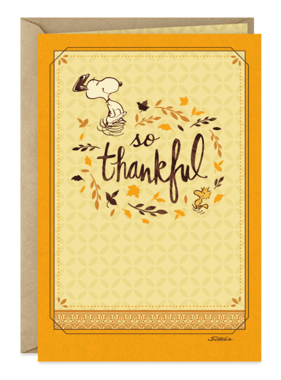 Peanuts® Snoopy and Woodstock So Thankful Thanksgiving Card.