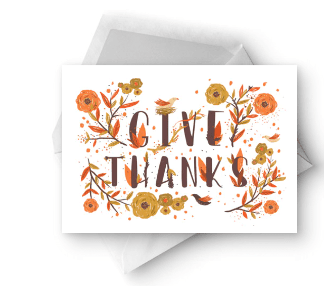Bird and Flowers - Thanksgiving Card.
