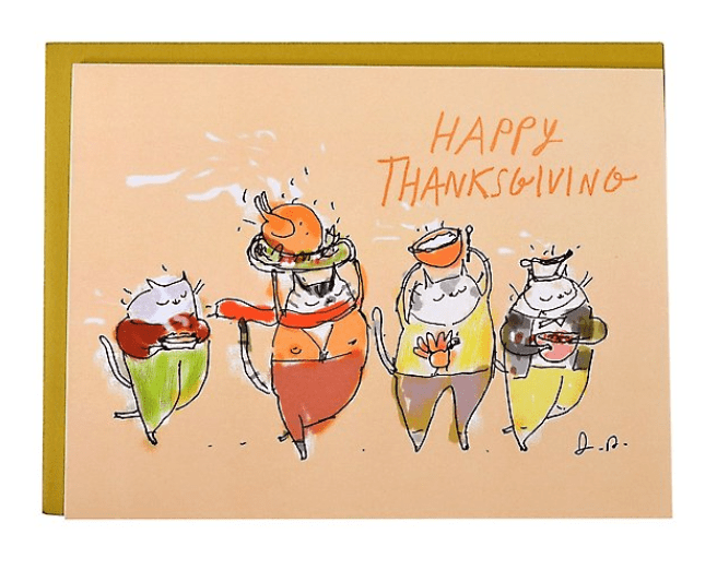 Thanksgiving Cat Greeting Card.