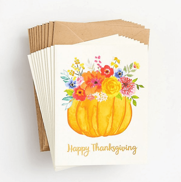 Floral Pumpkin Thanksgiving Stationery Set.