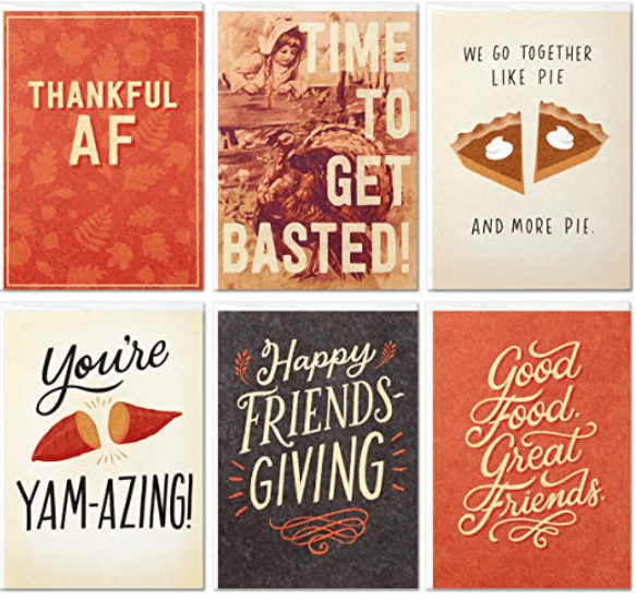 Hallmark Studio Ink Friendsgiving or Thanksgiving Card Assortment (6 Cards with Envelopes.