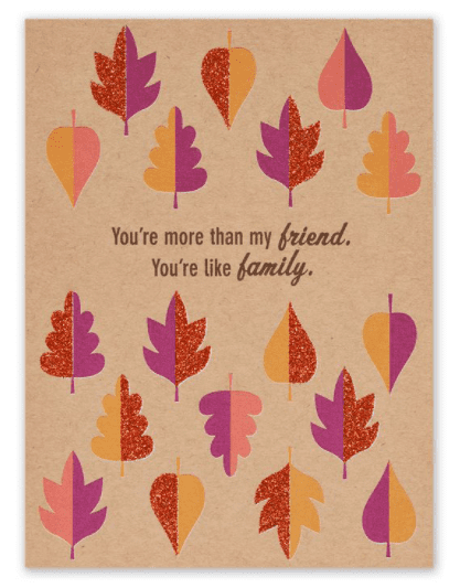 LEAVES THANKSGIVING CARD FOR FRIEND.