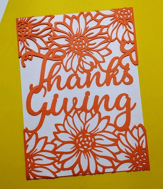 VG Cricut Thanksgiving Sunflowers Cards Laser Cut DXF Invitation Cricut Cutting Files Templates Card Autumn.