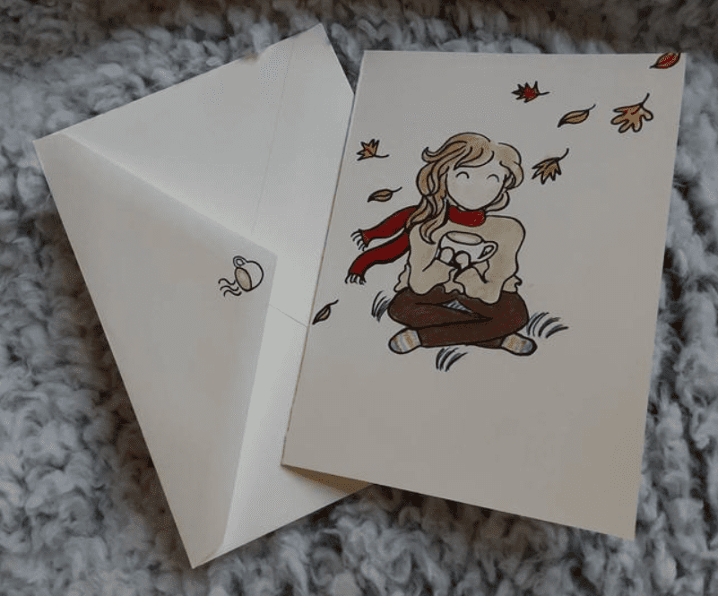 Autumn themed stationary/ girl with latte card/ fall leaf themed card/ cute stationary/ hand drawn card/ blank stationary/ greeting cards.