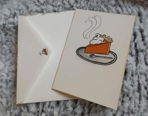Pumpkin pie stationary/ Thanksgiving themed card.