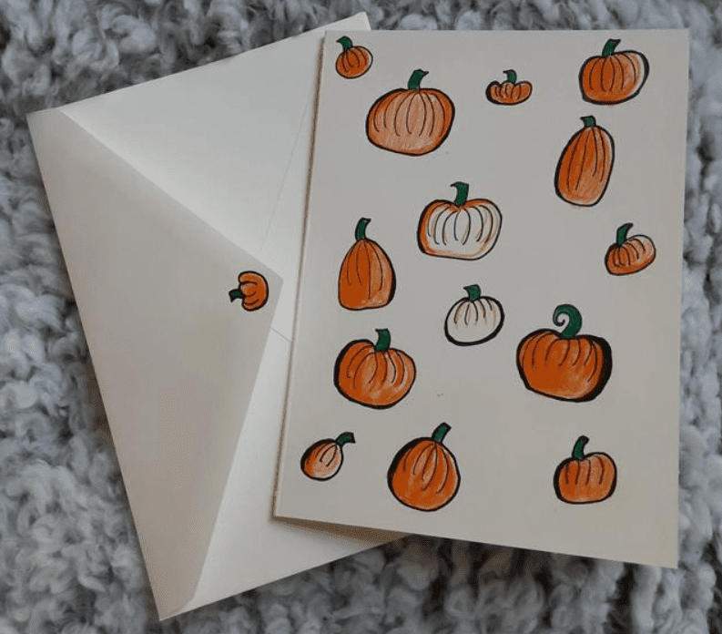 Pumpkin themed stationary/ pumpkin card/ Autumn themed card.