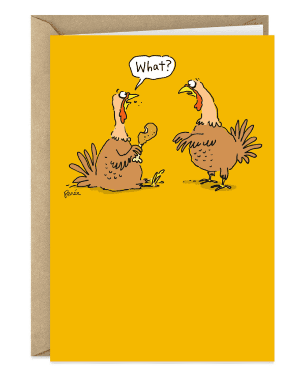 Two Turkeys Surprise Funny Thanksgiving Card.
