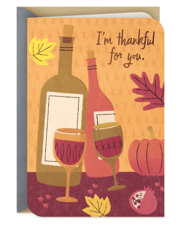 Thankful for You and Wine Funny Thanksgiving Card.