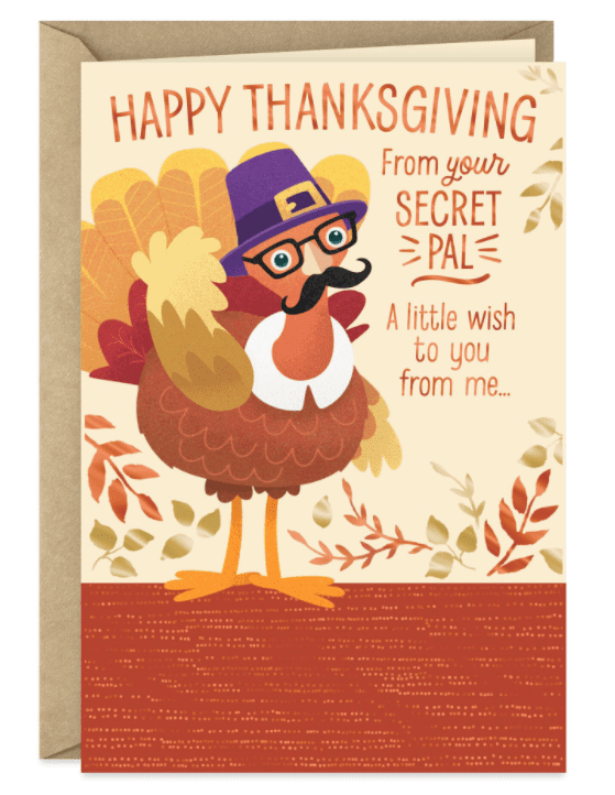 Turkey in Disguise Thanksgiving Card From Secret Pal.