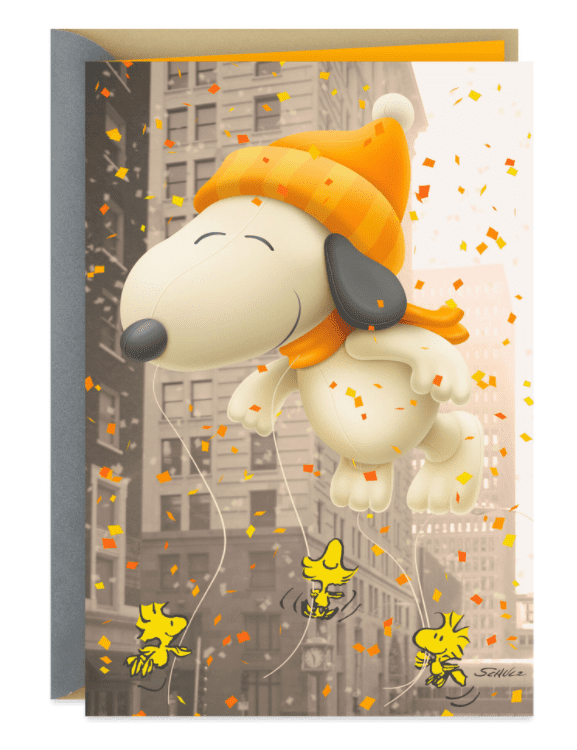 Peanuts® Snoopy Parade Balloon Funny Thanksgiving Card.