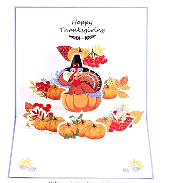 ENJOYPRO Thanksgiving Cards, 3D Pop Up Happy Thanksgiving Day Cards, Handmade Thanksgiving Greeting Cards for Friends.