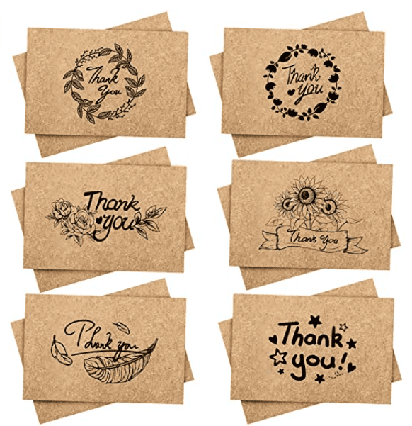 120 Thank You Cards with Envelopes, 120 Sets Kidtion Premium Kraft Paper Bulk, Thanksgiving Gift Greeting Cards and Thank You Notes with 6 Designs for Wedding, Formal and Baby Shower 4x6 Inch Blank.