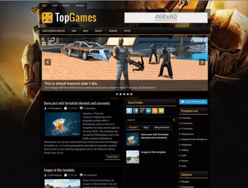 TopGames Blogger Template.
