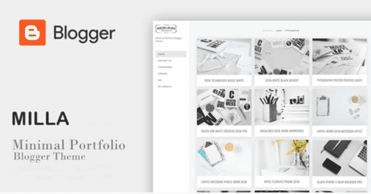 Milla - Minimal Portfolio Blogger Template.
