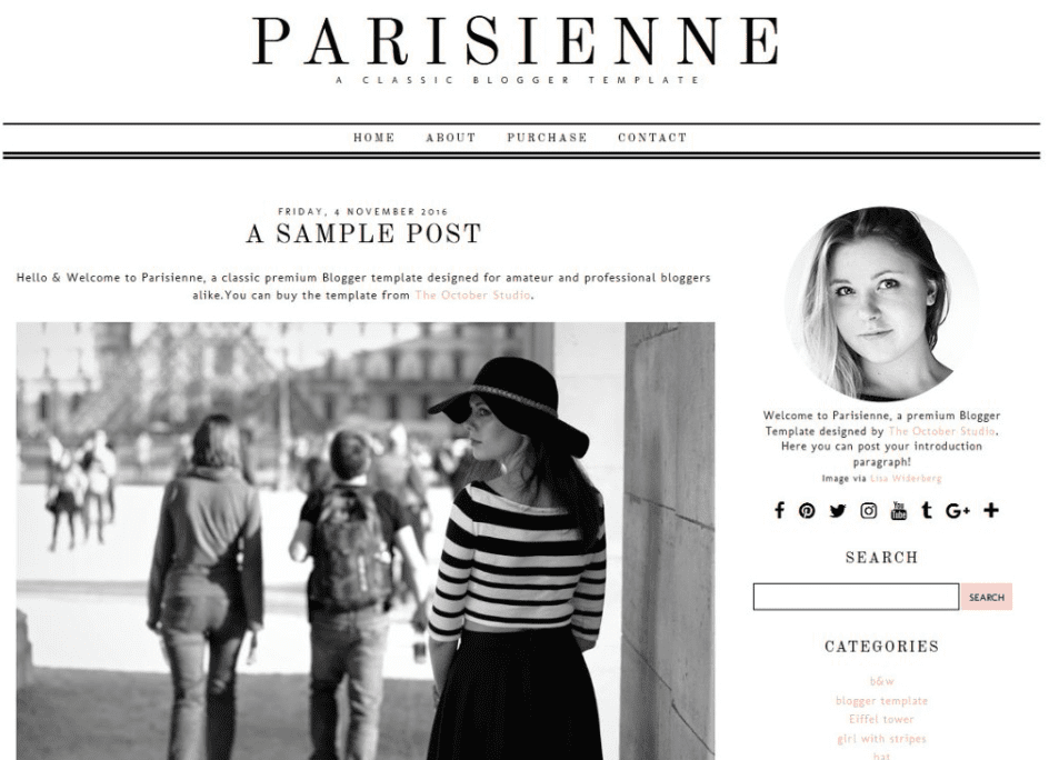 Parisienne - Blogger Template By The October Studio.