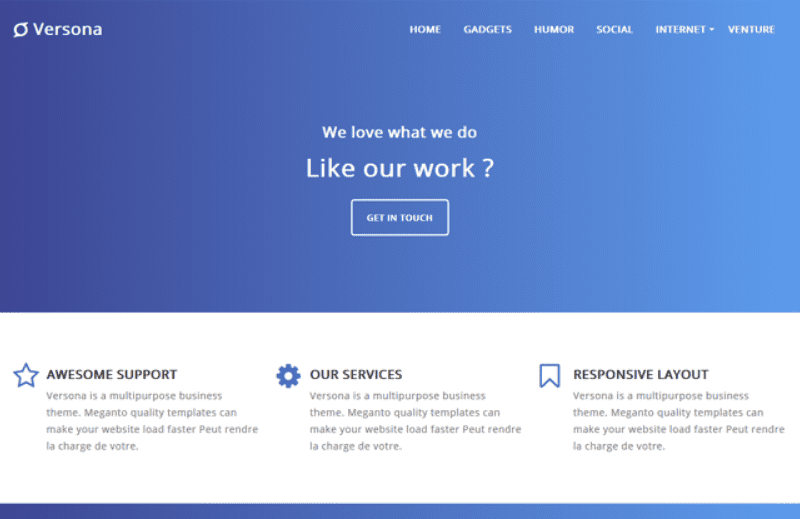 Versona Landing Page Blogger Template.