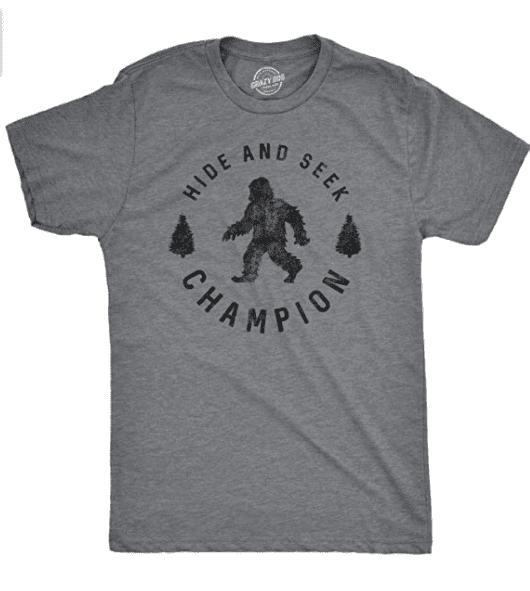 Mens Hide and Seek Champion T Shirt Funny Bigfoot Tee Humor Cool Graphic Print.