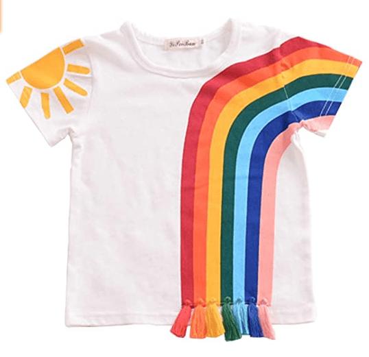Toddler Kids Baby Boy Girl Short Sleeve Tassel Rainbow T-Shirt Striped Summer Casual Tops.