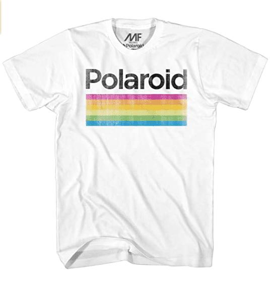 Mad Engine Men's Classic Polaroid Logo Vintage Style Rainbow T-Shirt.