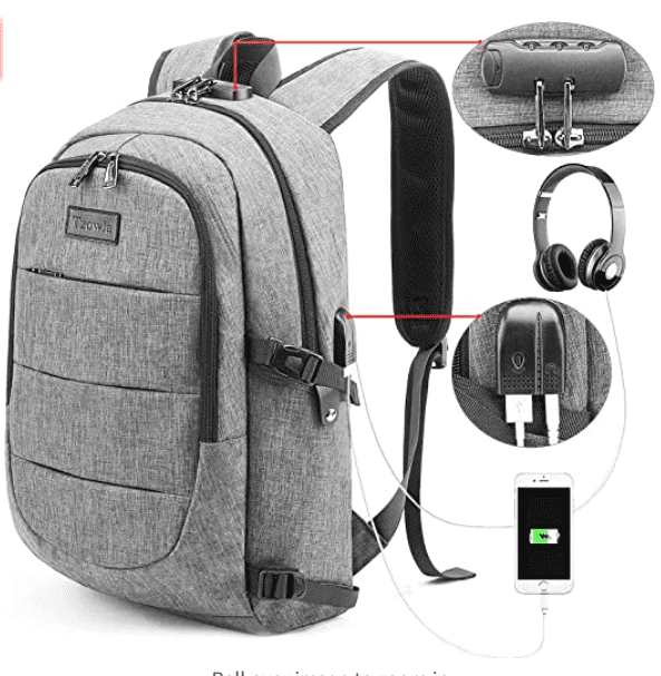 Travel Laptop Backpack Water Resistant Anti-Theft Bag with USB Charging Port and Lock.