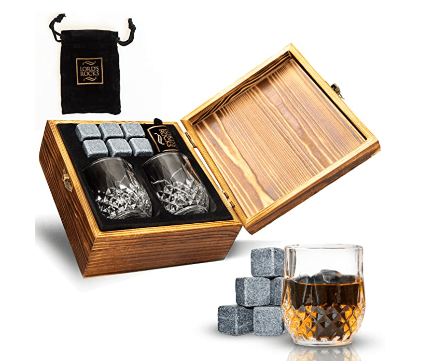 Whiskey Stones Gift Set - Cold Stones For Drinks – 6 Natural Granite Whisky Rocks To Chill Your Beverages.