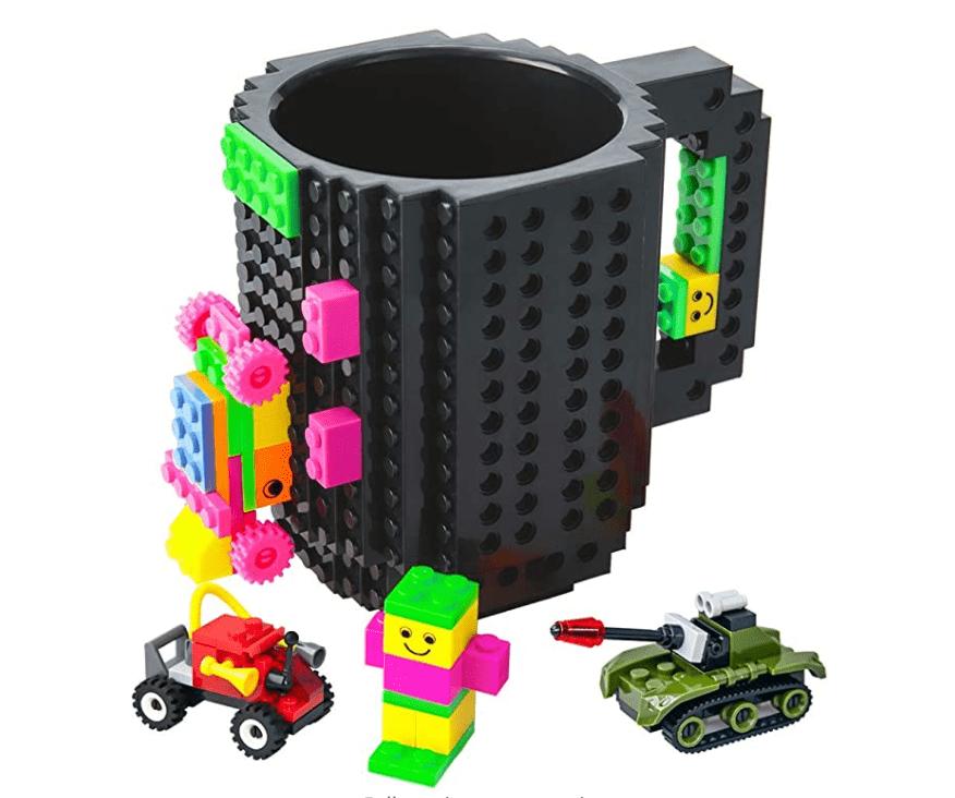 BOMENNE Build-on Brick Mug, Novelty Creative DIY Block Buddy Cup With 3 Packs Of Blocks.