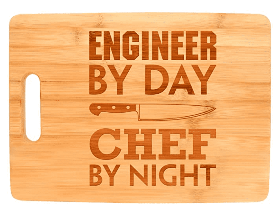 Engineering Gift Engineer By Day Chef By Night STEM Math Big Rectangle Bamboo Cutting Board Bamboo.