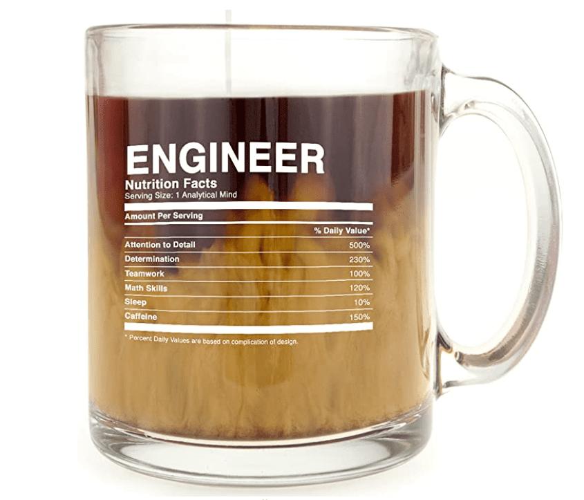 Engineer Nutrition Facts - Glass Coffee Mug.