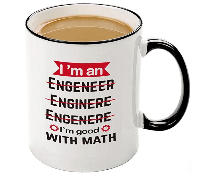Funny mugs-I'm An Engineer Good With Math Coffee Mug, Motivational And Inspirational Office Gift.