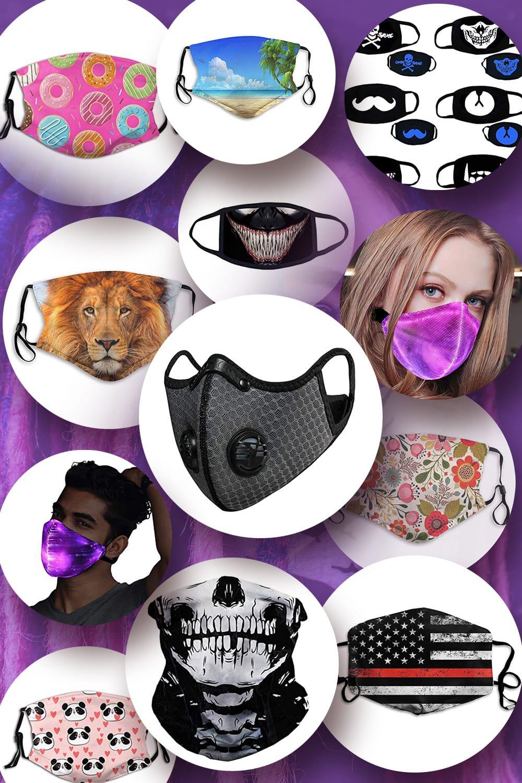 Medical masks with design. Pinterest image.