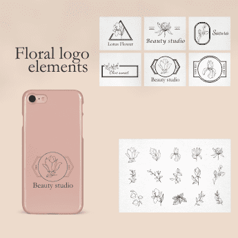 Vintage Floral Logo: 31 Floral Elements for Logo SVG - 41