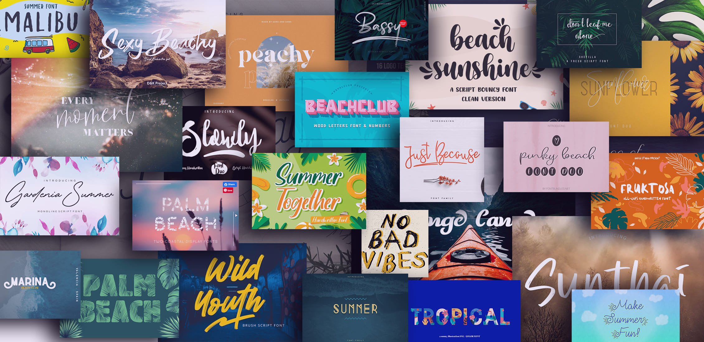 Awesome Examples Summer and Beach Fonts.