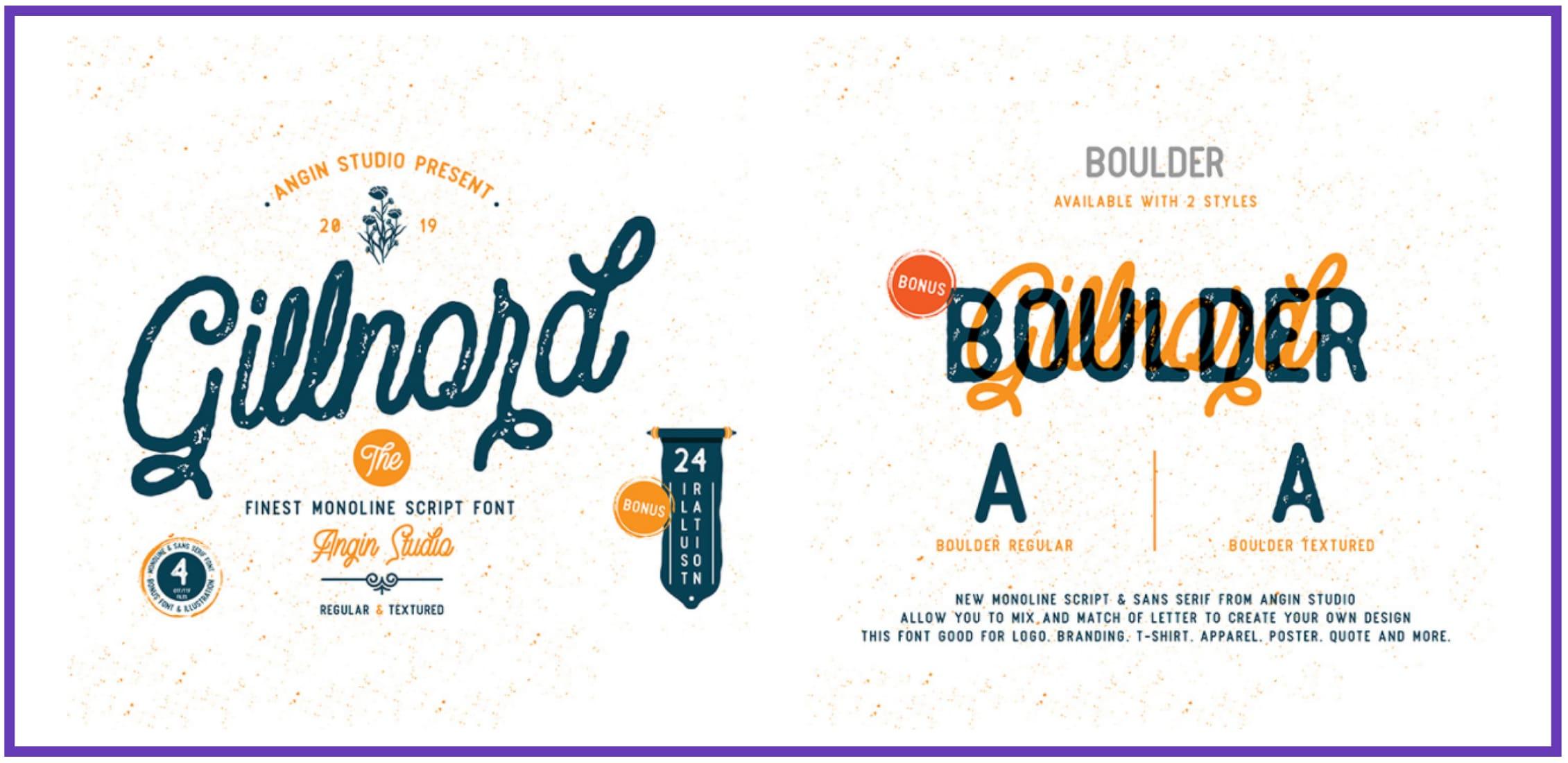 Vintage Monoline Font: Gillnord Script (4 Fonts with Extras). Best Industrial Fonts.