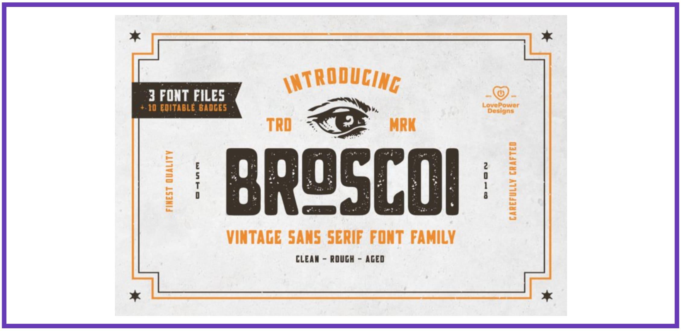 Broscoi - Vintage Font Family. Best Industrial Fonts.