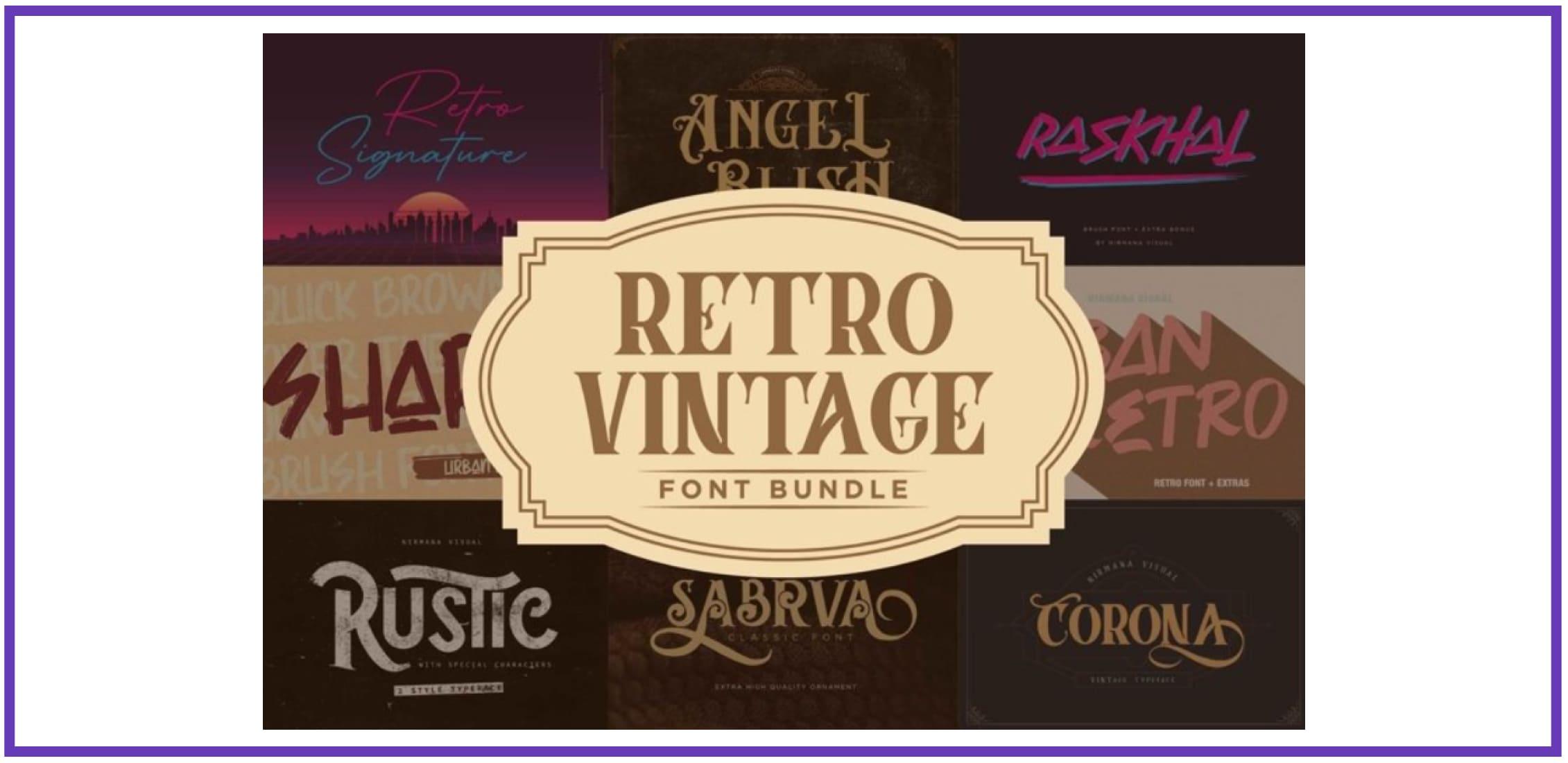 Retro Vintage Font Bundle. Best Industrial Fonts.